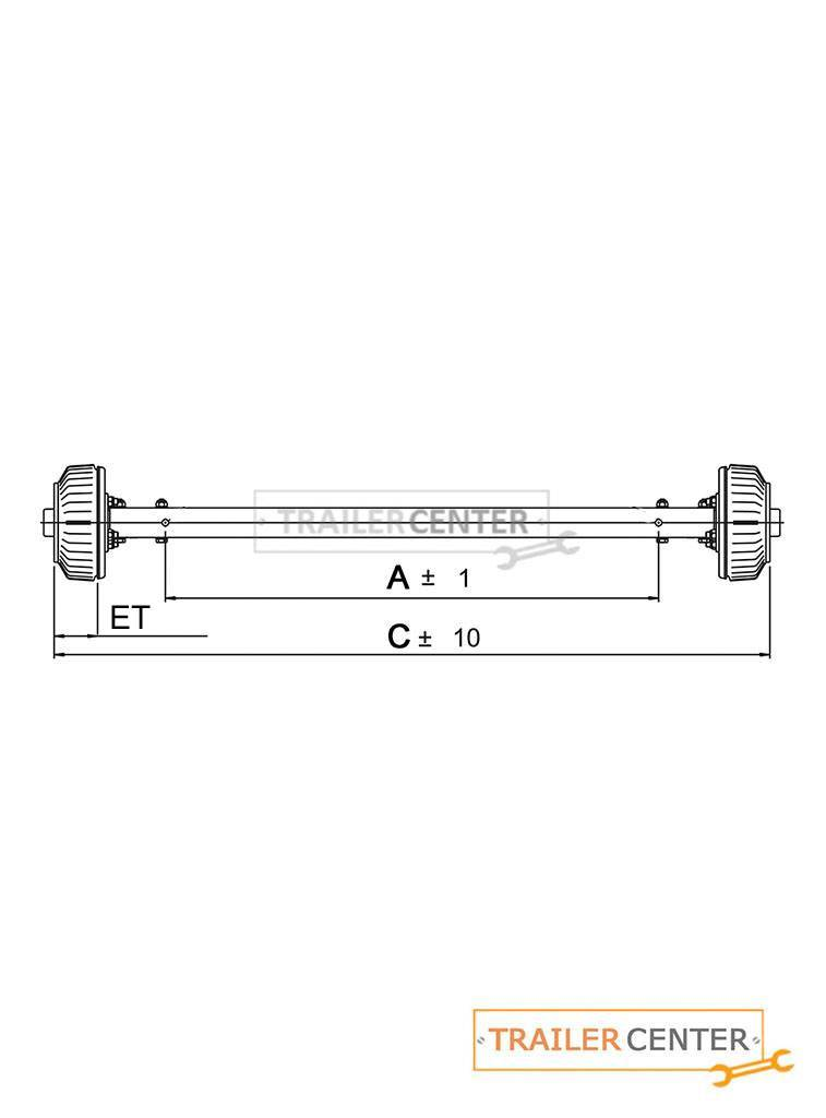 AL-KO Assale rigido per rimorchi frenati • tipo BS 1500 • fino a 1500kg • attacco ruota 100x4
