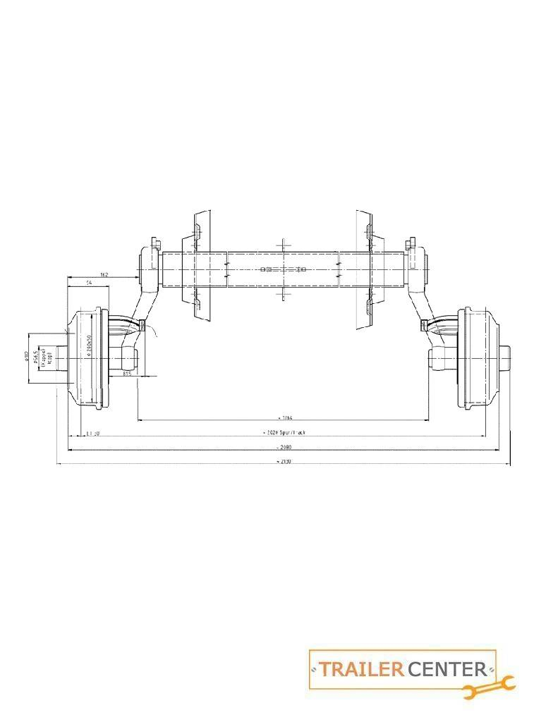 BPW BPW Achse für gebremste Anhänger • Typ CB 1505 • bis 1500kg • Radanschluss 112x5