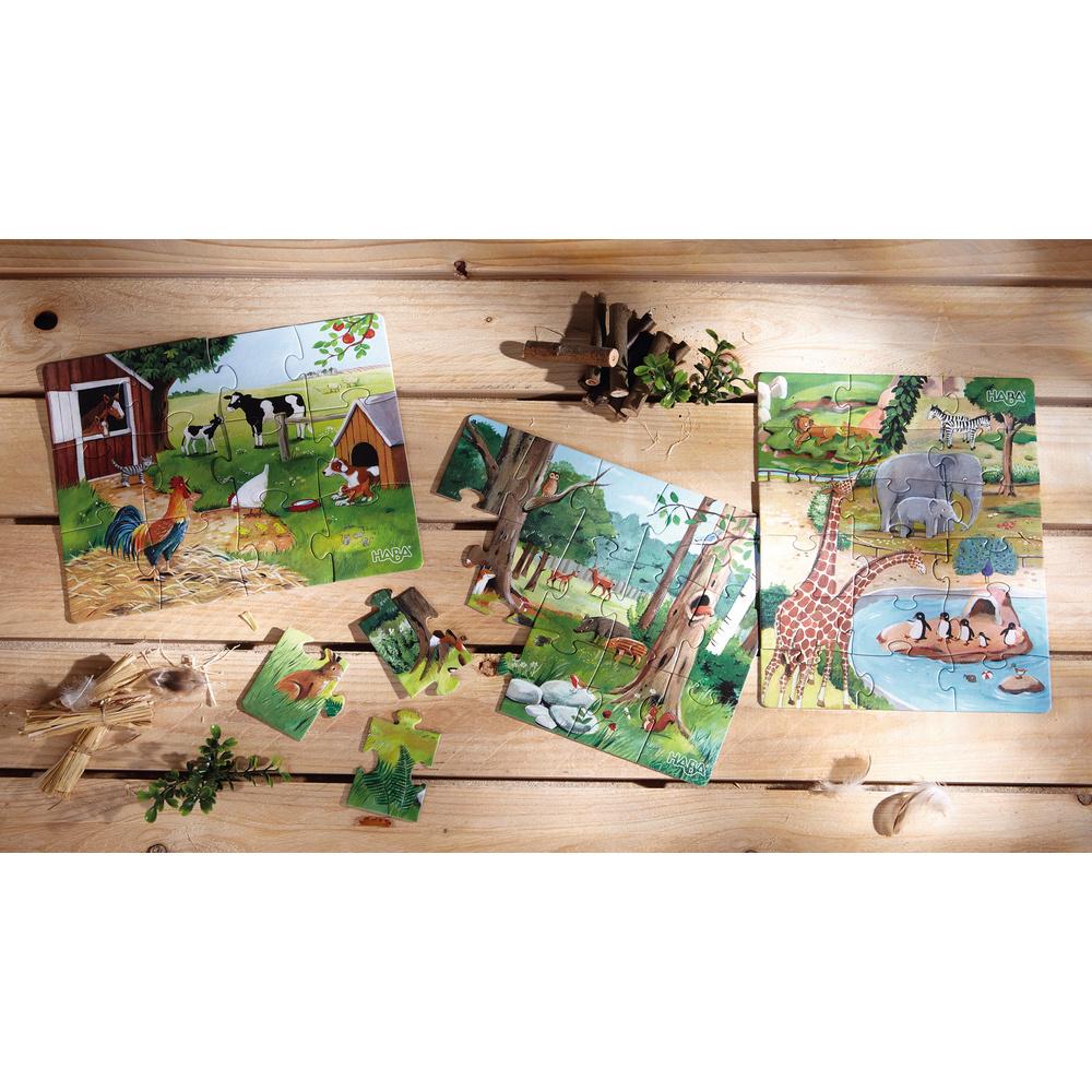 HABA 3 Haba 'Dieren' puzzels (12, 15, 18 stuks)
