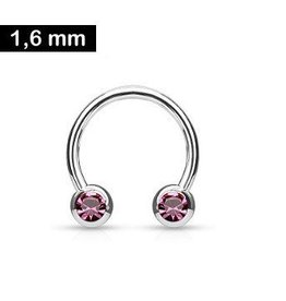 1,6 x 12 mm Brustpiercing Ring Pink