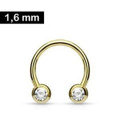 1,6 x 12 mm Hufeisenring Gold - Kristall