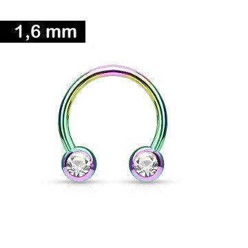 Brustpiercing Ring multicolor mit kristall Stein