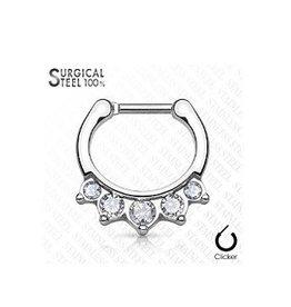 Septum Clicker mit 5 kristall Steinen