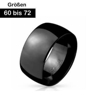 Breiter Edelstahl Ring schwarz 60-72 mm