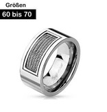 Cooler Edelstahl Ring mit Drahtoptik 60-70 mm