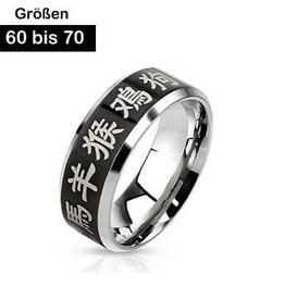 Edelstahl Ring Chinesische Zeichen
