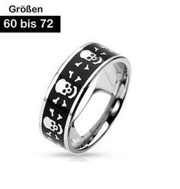 Edelstahl Ring mit Totenköpfe