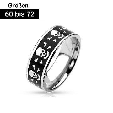 Edelstahl Ring Skull 60-72 mm