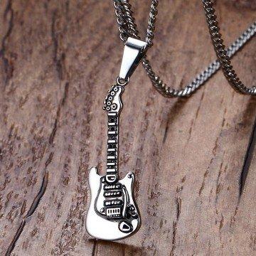 Halskette aus Edelstahl mit Gitarre