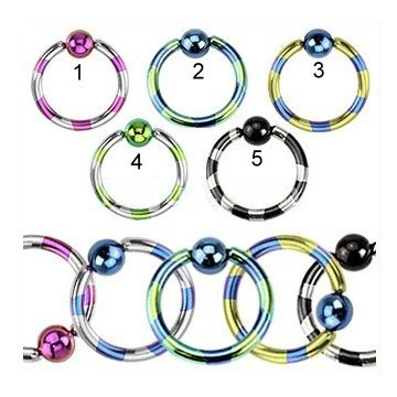 Helix Piercing Ring 1.2 mm gestreift