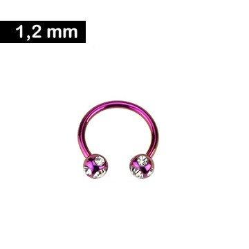 Piercingring pink mit Zirkoniasteinchen