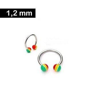 1,2 mm Piercingring mit Kunststoffkugeln