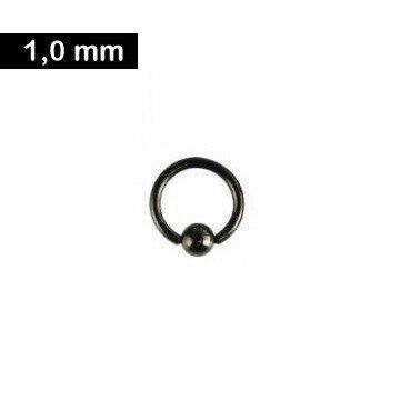 1 mm Piercing Ring schwarz - 3 Größen