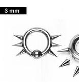 Piercing-Ring 3,0 x 12 mm mit Spitzen