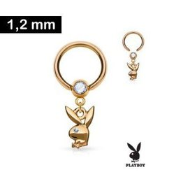 1,2 x 10 mm Piercingring - Playboy - Rose