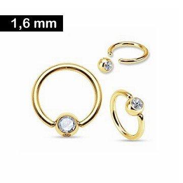 Piercing-Ring gold mit kristall Stein
