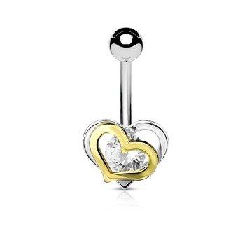 Bauchnabelpiercing  Herz mit Kristall Stein