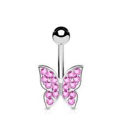Pinkes Bauchnabelpiercing Schmetterling