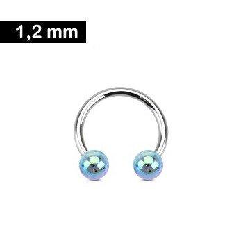 1,2mm Hufeisen Ring Blau