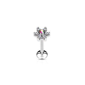 Tragus Piercing Blume mit kristall Stein