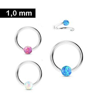 1mm Piercing Ring mit Synthetic Opal