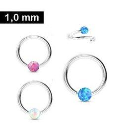 1 mm Piercingring Synthetic Opal