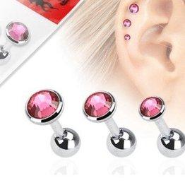 3er Set Flat Piercing Chirurgenstahl pink