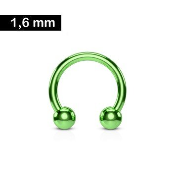 1,6 mm Hufeisen Piercingring - grün
