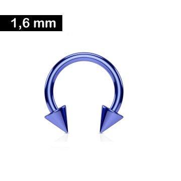 1,6 mm Hufeisenring Blau mit 2 Spitzen
