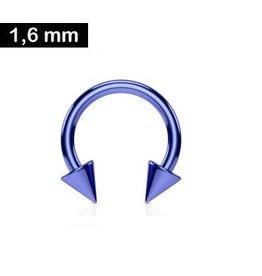 1,6mm Hufeisenring Blau mit Spitzen