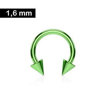 1,6 mm Hufeisen Ring  mit 2 Kegeln - Grün