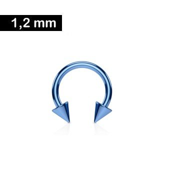 1,2 mm Piercingring eloxiert mit Kegeln