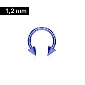 1,2 mm Piercingring eloxiert mit 2 Spitzen - Blau