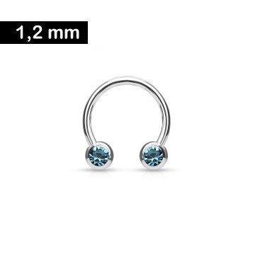 1,2 mm Hufeisen Ring mit 2 Kugeln