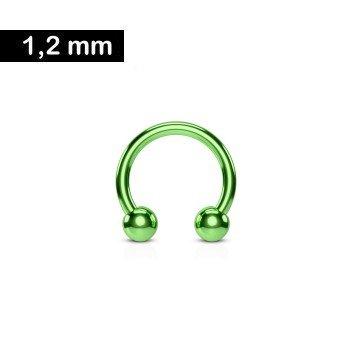 1,2 mm grüner Hufeisenring eloxiert mit 2 Kugeln