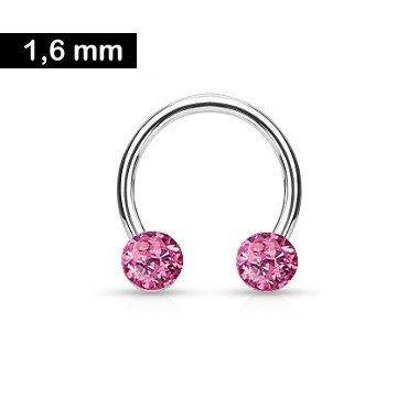 1,6 mm Piercing Ring mit 2 pinken Epoxy Kugeln