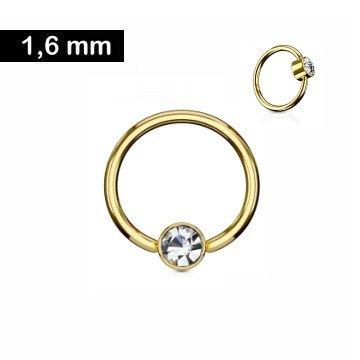 1,6 mm goldfärbiger Piercingring  mit Stein