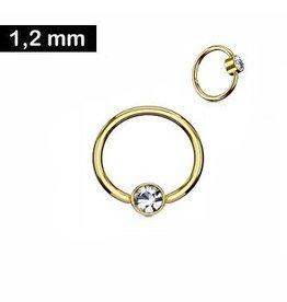 Goldfärbiger Piercingring mit kristall Stein
