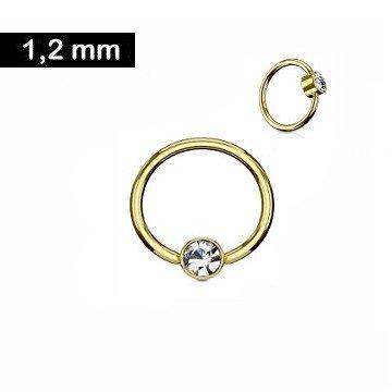Goldfärbiger Piercingring mit kristall Stein - 1,2 x 8 mm