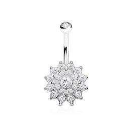 Kristall Bauchnabelpiercing Blume