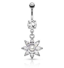 Bauchnabelpiercing Blume mit Perle