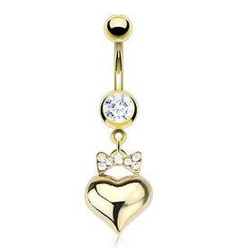 Goldfärbiges Bauchnabelpiercing Herz mit Schleife