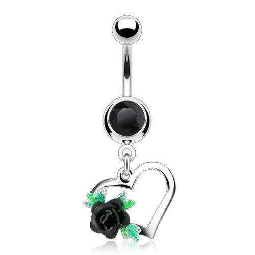 Schwarzes Bauchnabelpiercing Herz mit Rose