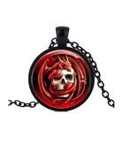 Schwarze Halskette Drache mit Totenkopf