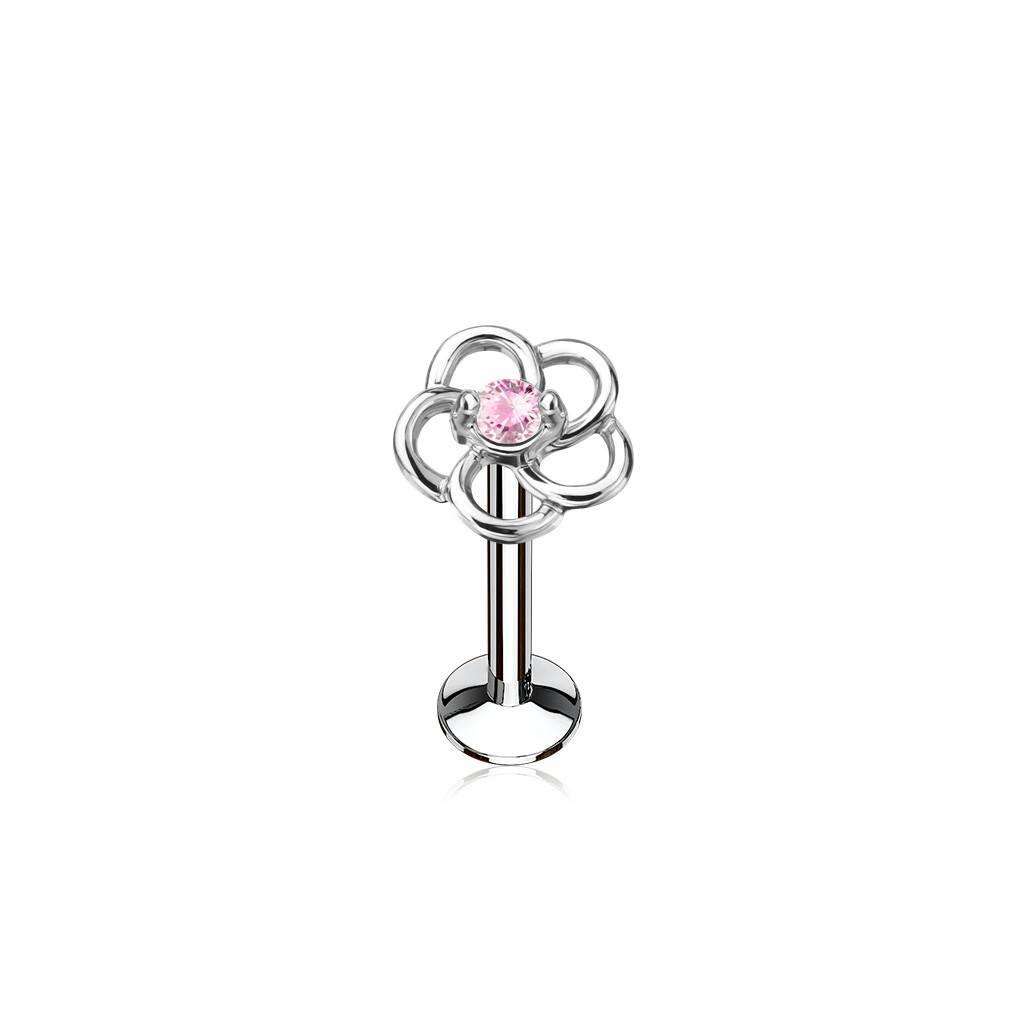 Tragus Schmuck mit pinker Blume