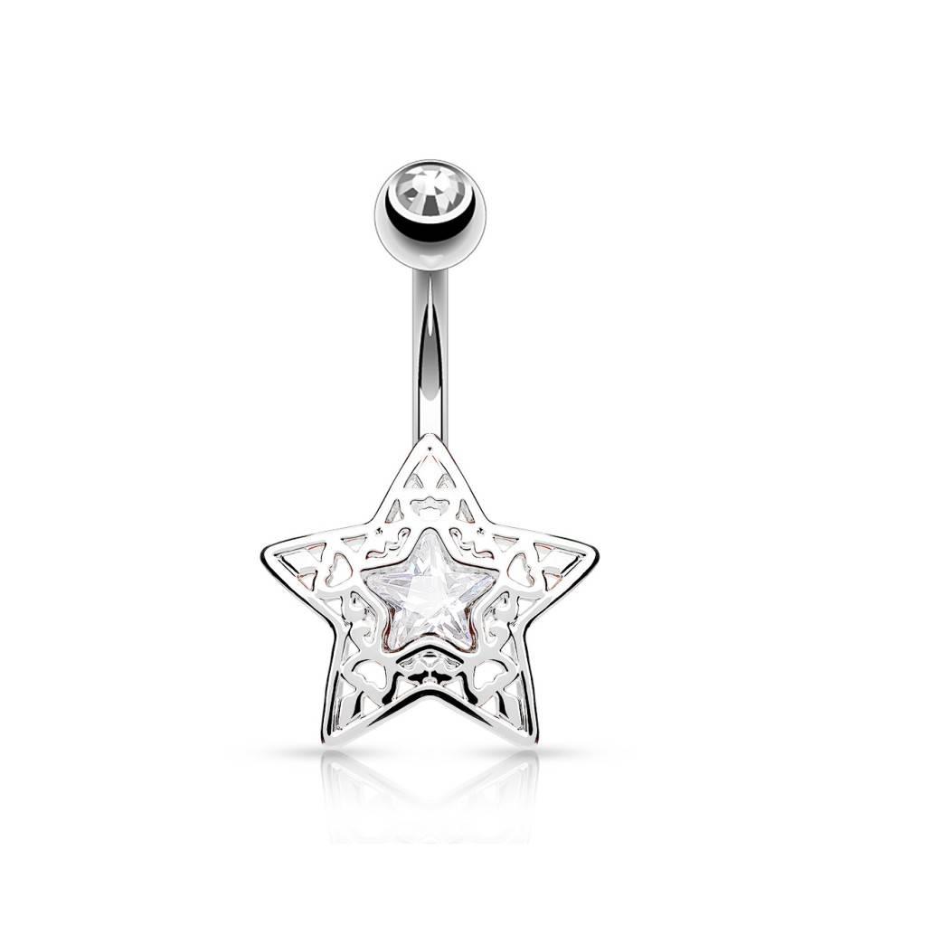 Kristall Bauchnabelpiercing Stern