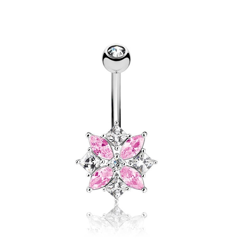 Bauchnabelpiercing Blume - Pink-Kristall