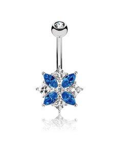 Bauchnabelpiercing Blume Blau