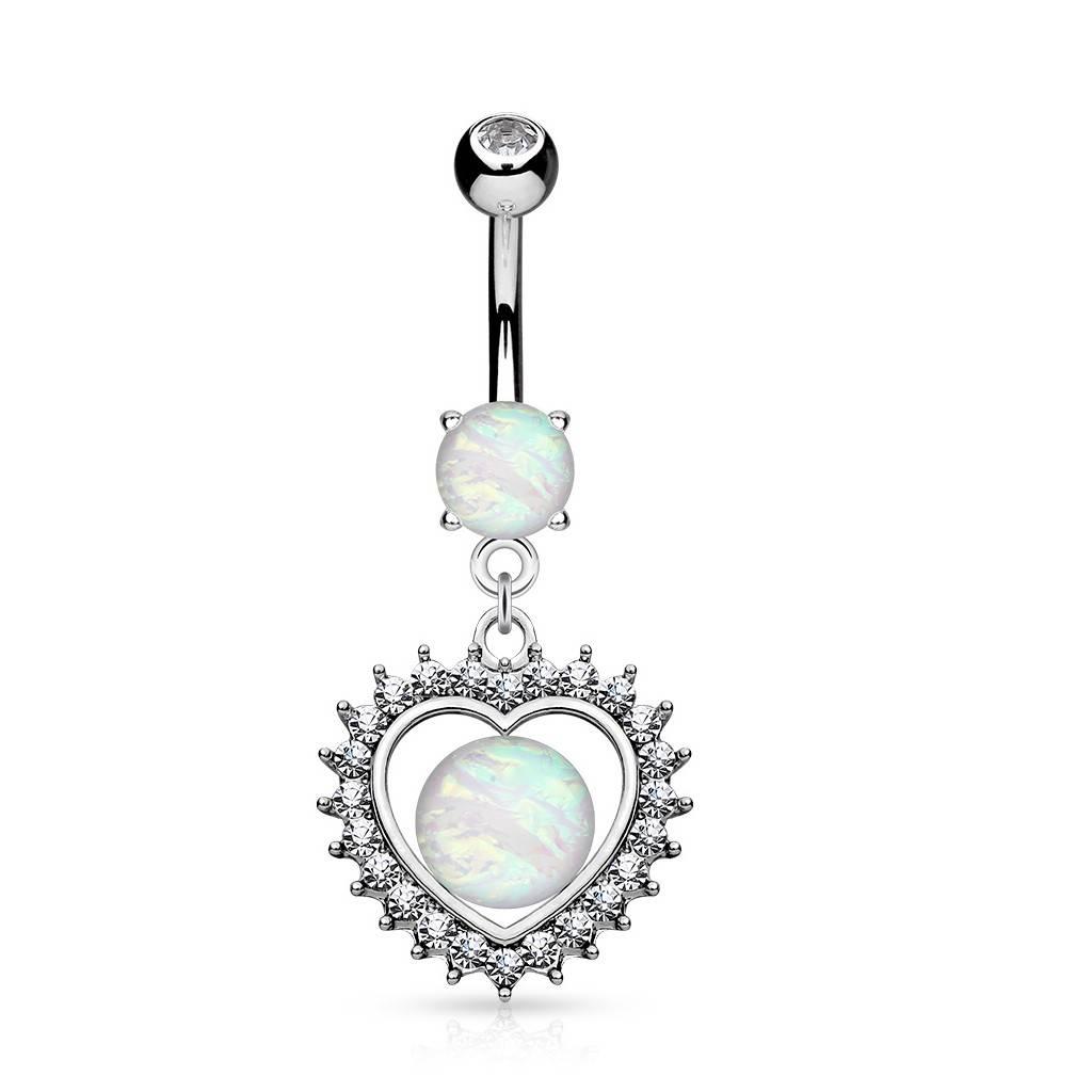 Bauchnabelpiercing Herz mit Synthetic Opal
