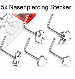 5er Set Nasenstecker L-Form